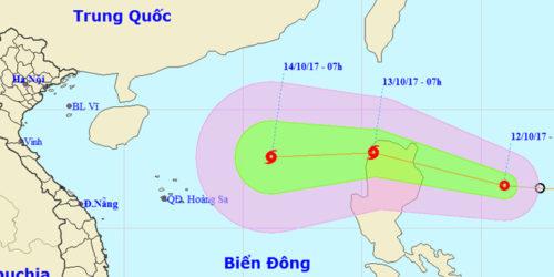 Áp thấp dự kiến vào Biển Đông dịp cuối tuần và mạnh lên thành bão
